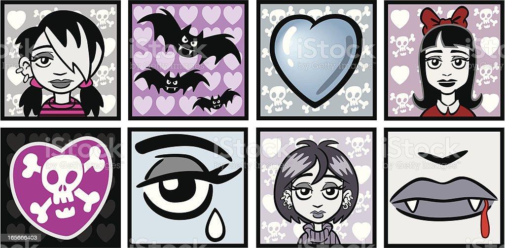 Goth Emo Vampire Girls vector art illustration
