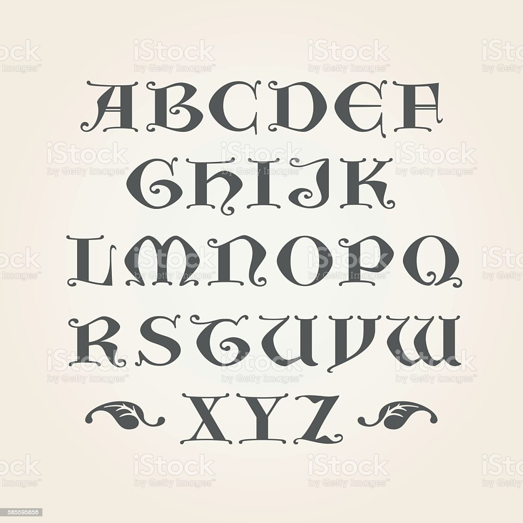 Gothic initials. Decorative Alphabet vector art illustration