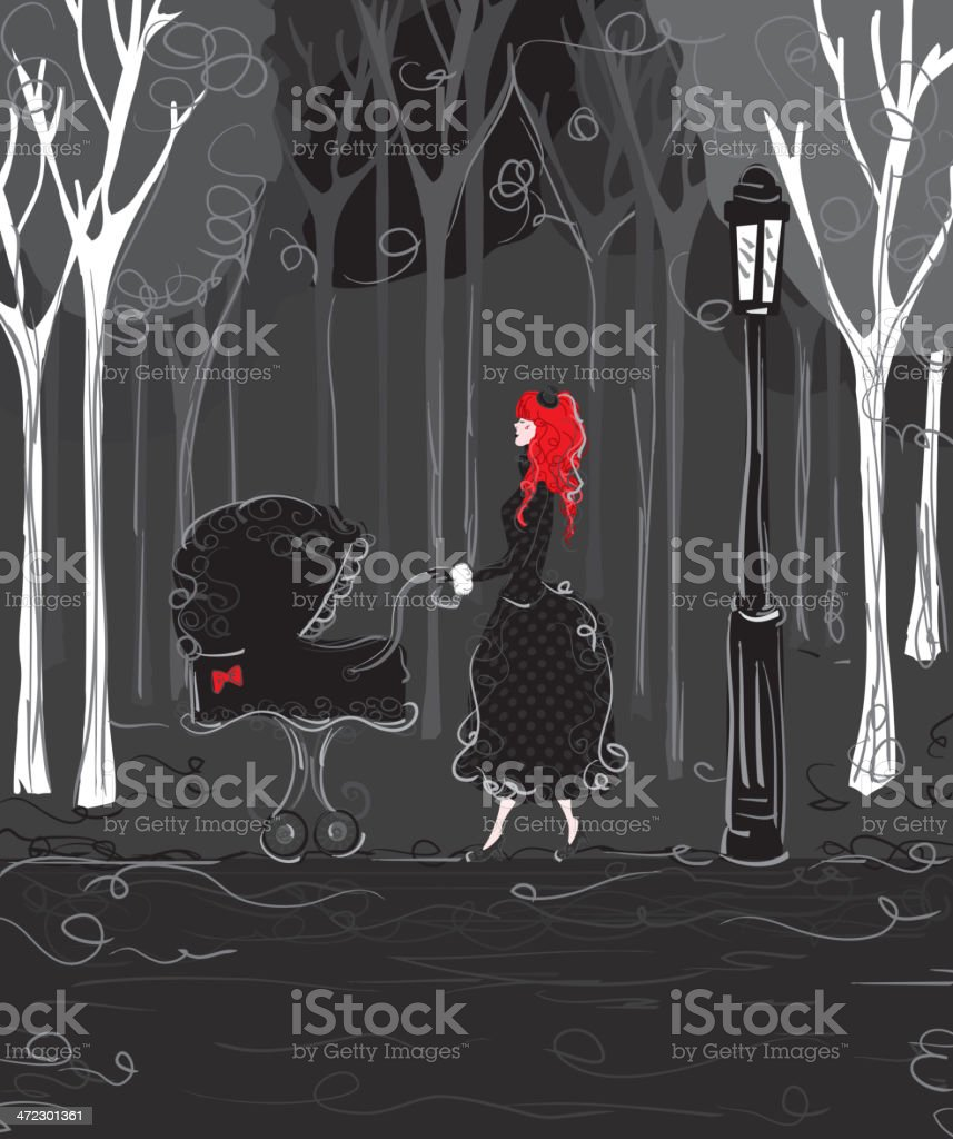 Gothic style mother and pushing pram through park vector art illustration