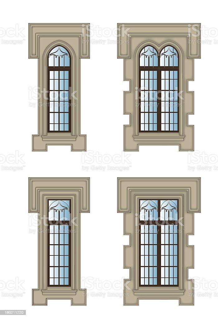 Gothic windows set vector art illustration
