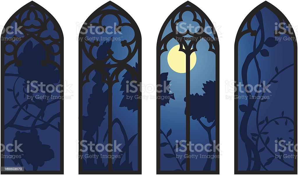 Gothic Windows vector art illustration