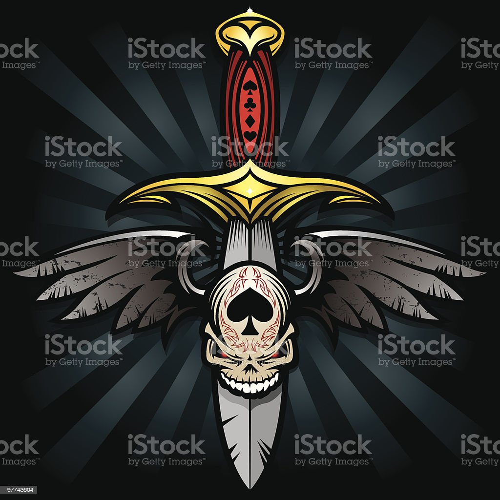 Gothic Winged Skull and Blade vector art illustration