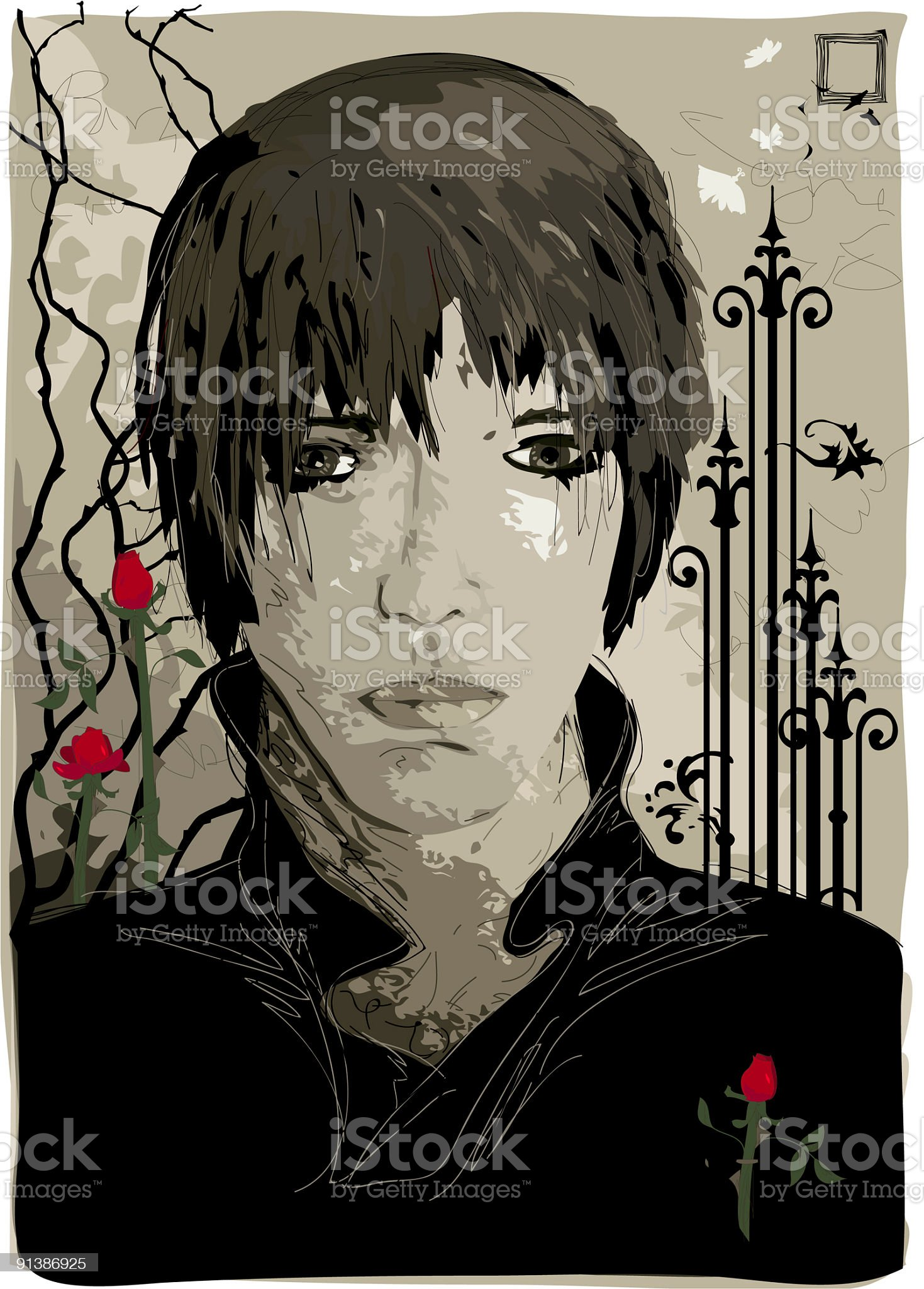 gothic youth illustration royalty-free stock vector art