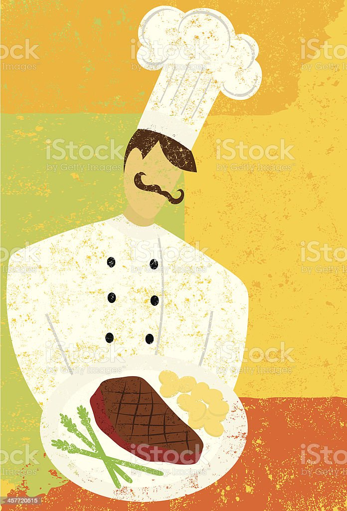 gourmet chef vector art illustration