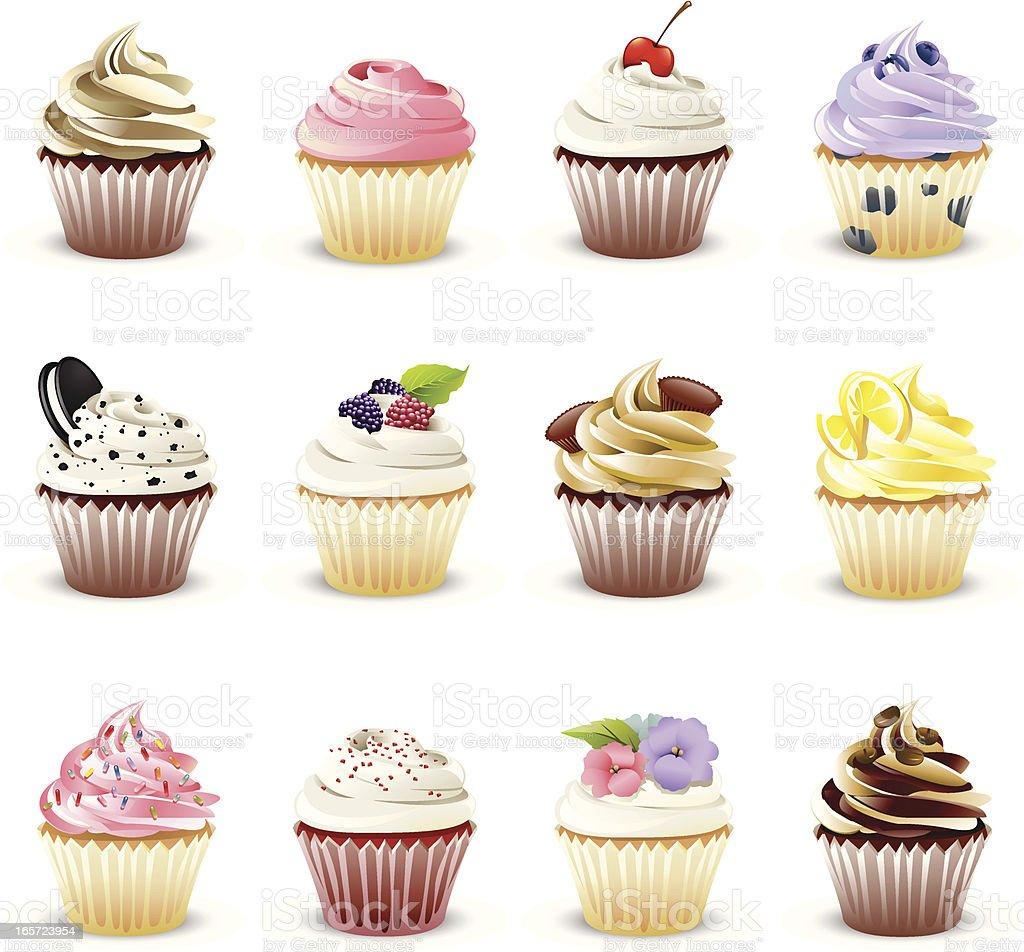 Gourmet Cupcakes vector art illustration