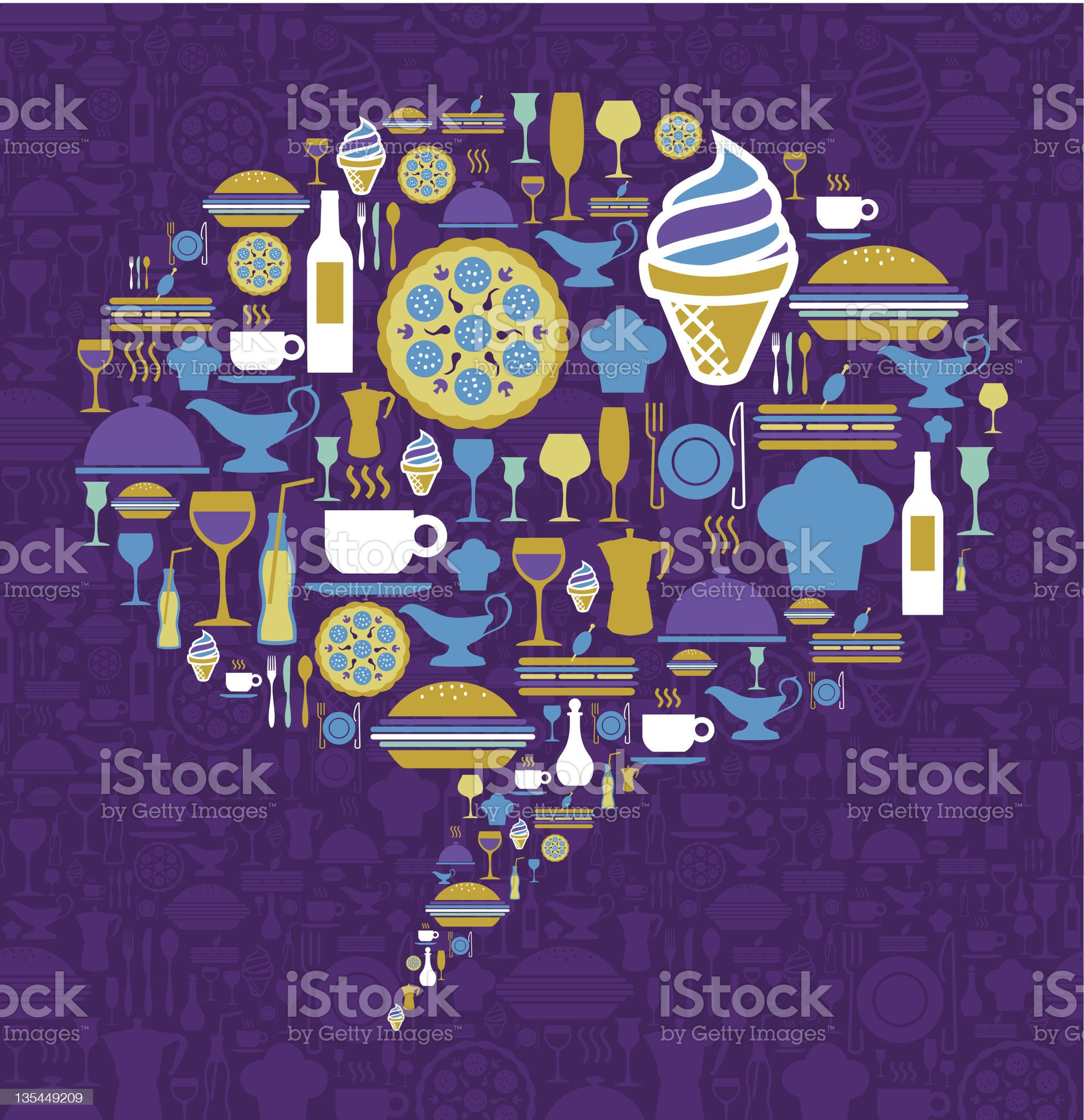 Gourmet icon set in dialogue bubble shape royalty-free stock vector art