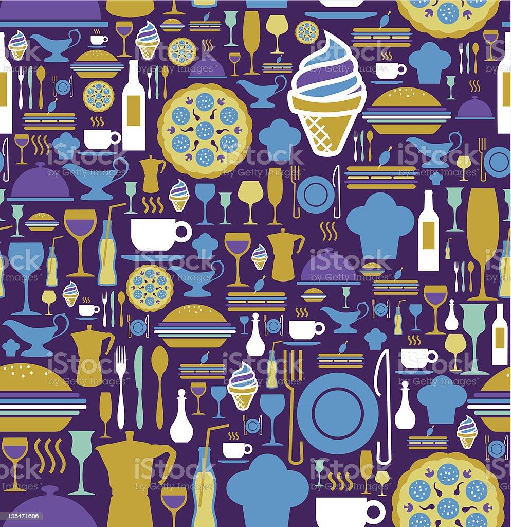 Gourmet icon set seamless pattern. royalty-free stock vector art