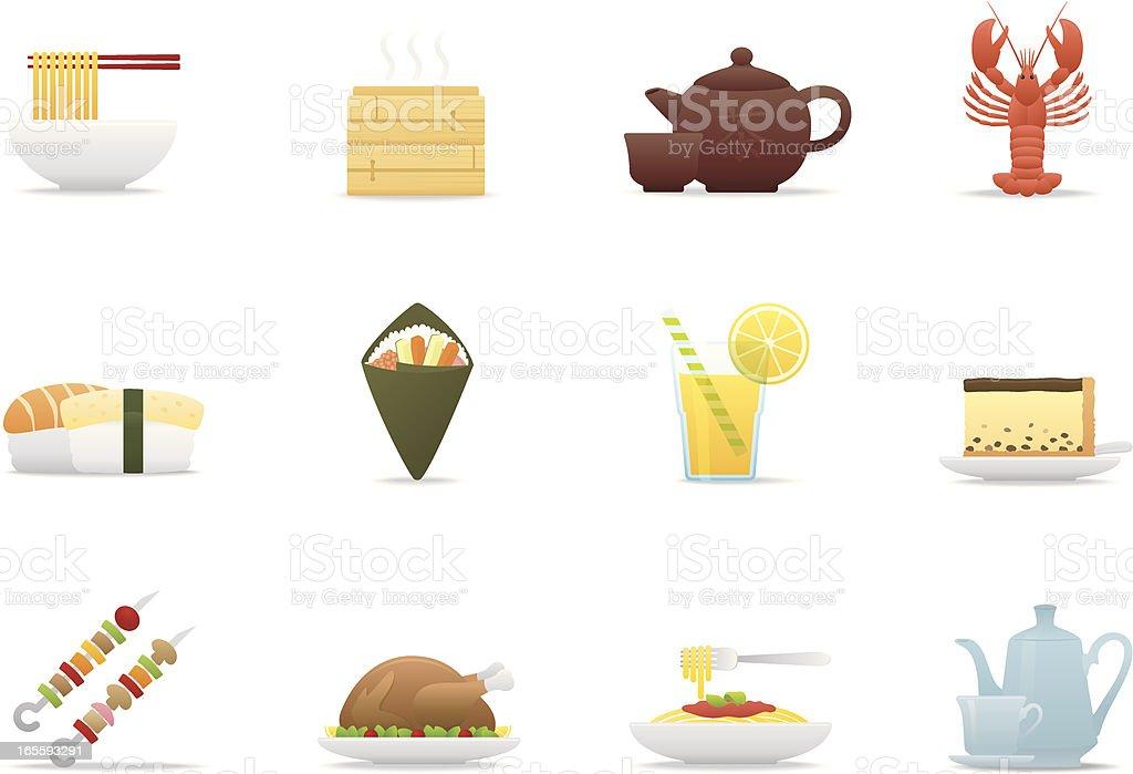 Gourmet icons | Premium Matte series vector art illustration