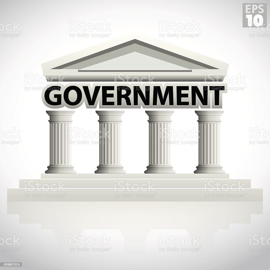 Government: Government Building Icon With Greek Columns And Pointed