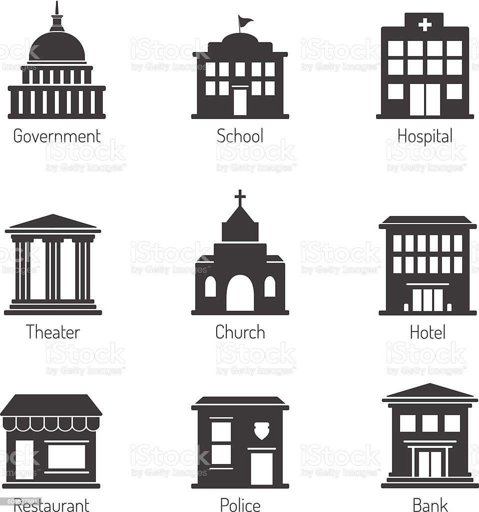 Government building icons vector art illustration