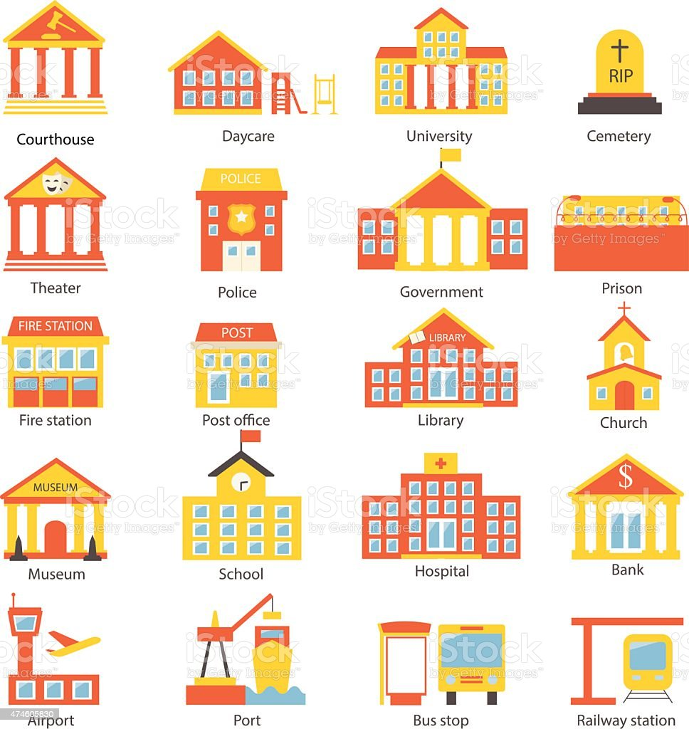 Government buildings icons set vector art illustration