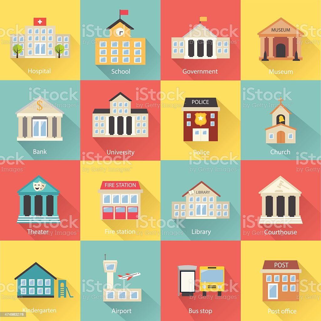 Government buildings icons set with long shadow vector art illustration