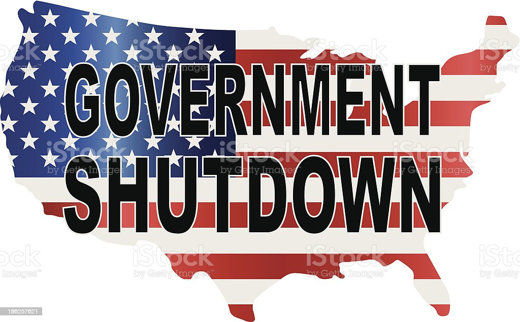 Government Shutdown USA Map Vector Illustration vector art illustration