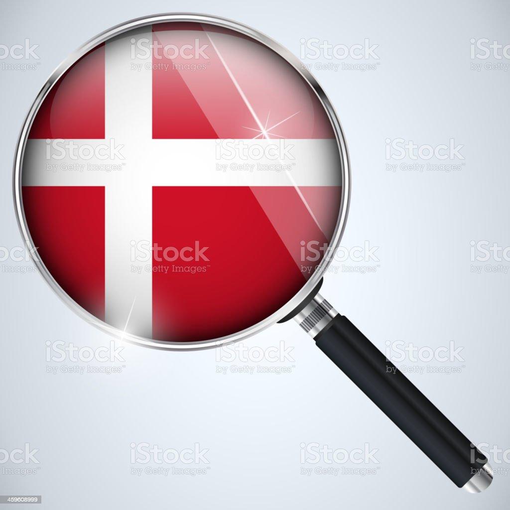 NSA USA Government Spy Program Country Denmark royalty-free stock vector art
