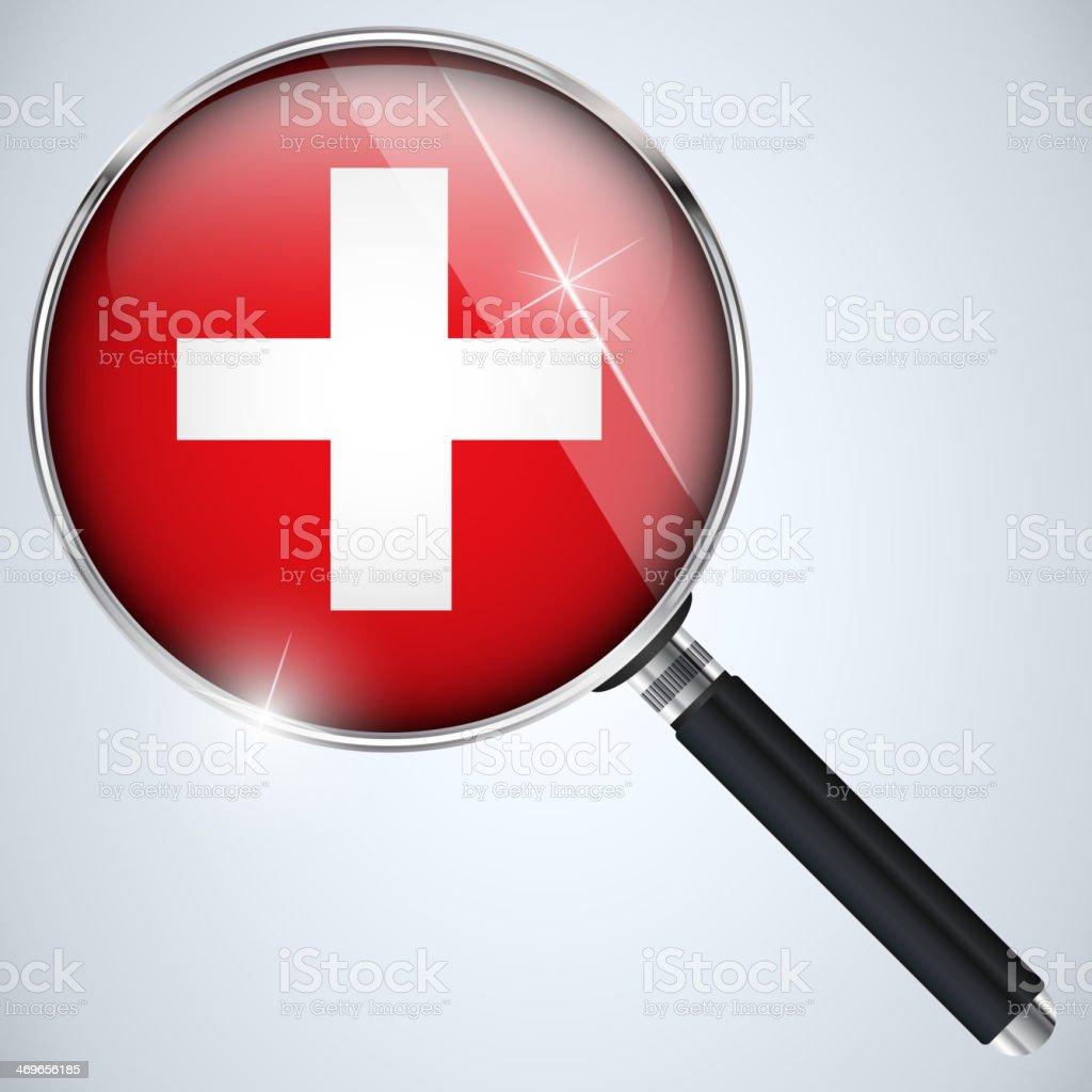 NSA USA Government Spy Program Country Switzerland royalty-free stock vector art