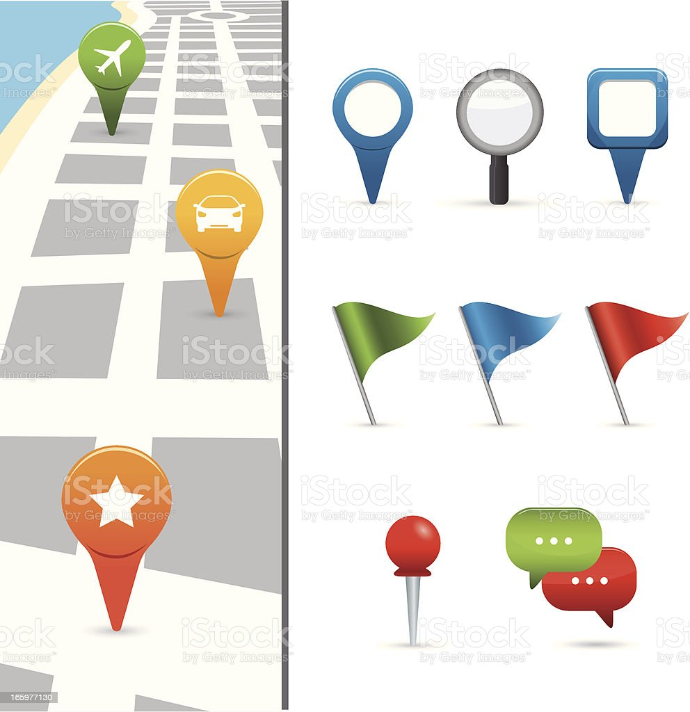 gps icons with street map royalty-free stock vector art