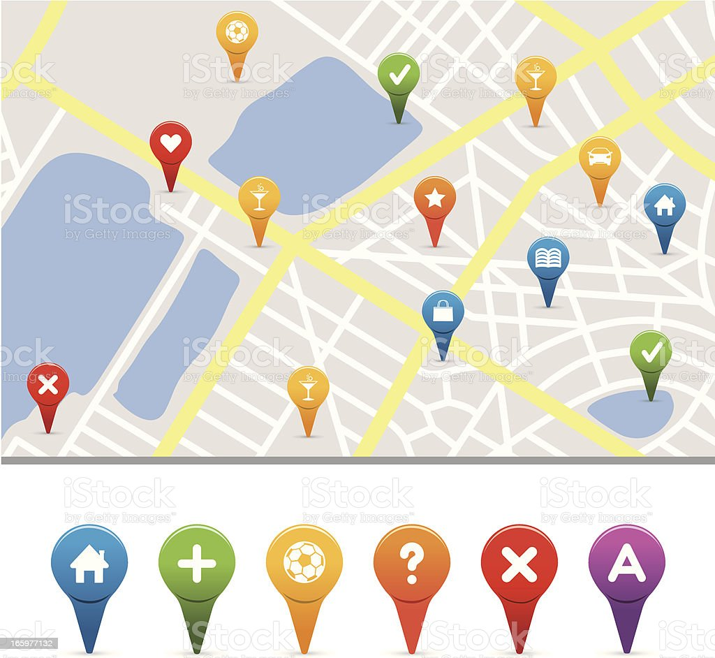gps icons with street map vector art illustration