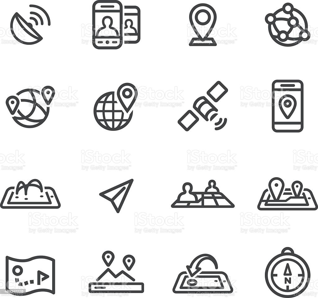 Gps, Location and Communication Icons - Line Series vector art illustration