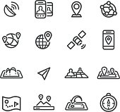 Gps, Location and Communication Icons - Line Series