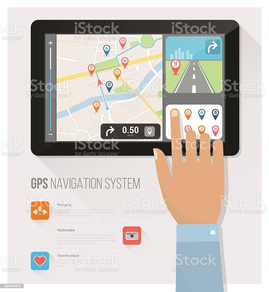 Gps navigation vector art illustration