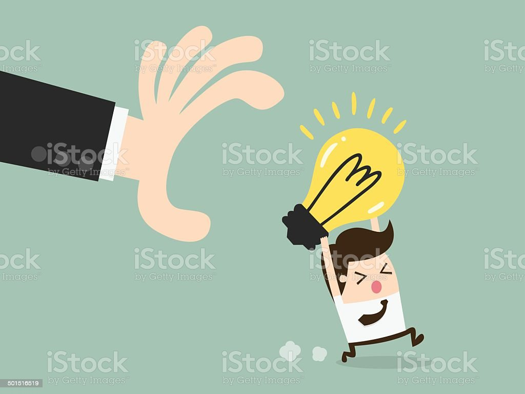 grabbing idea vector art illustration