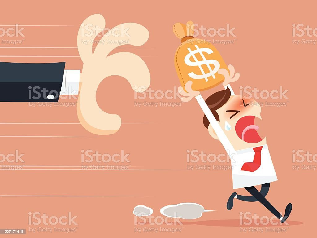 Grabbing money bag vector art illustration