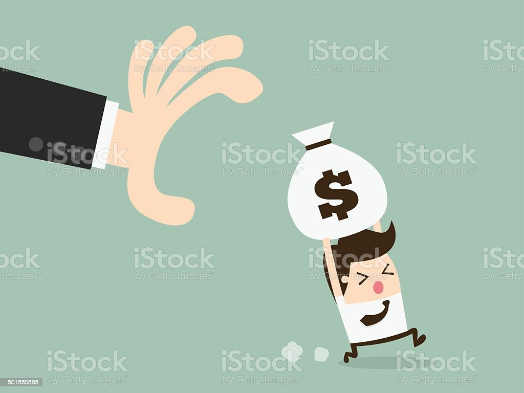 grabbing money vector art illustration