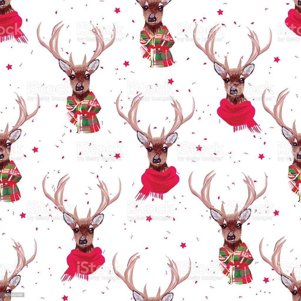 Graceful deer wearing winter scarves seamless vector print vector art illustration