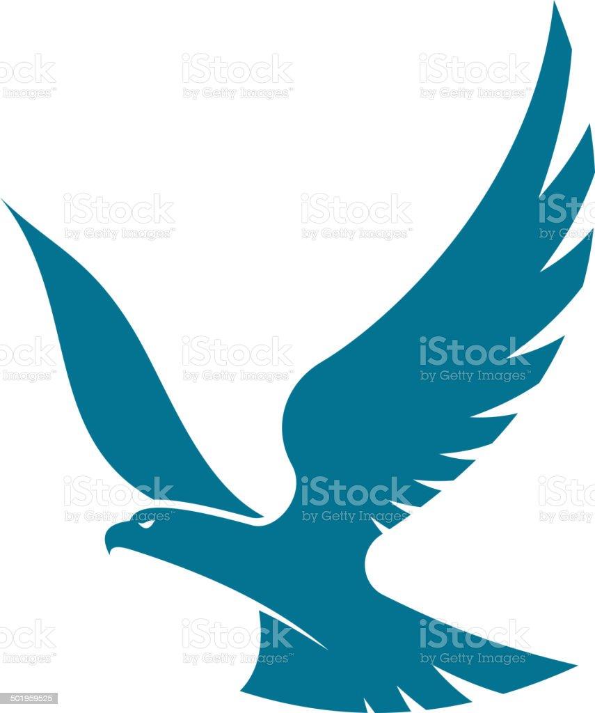 Graceful flying eagle vector art illustration