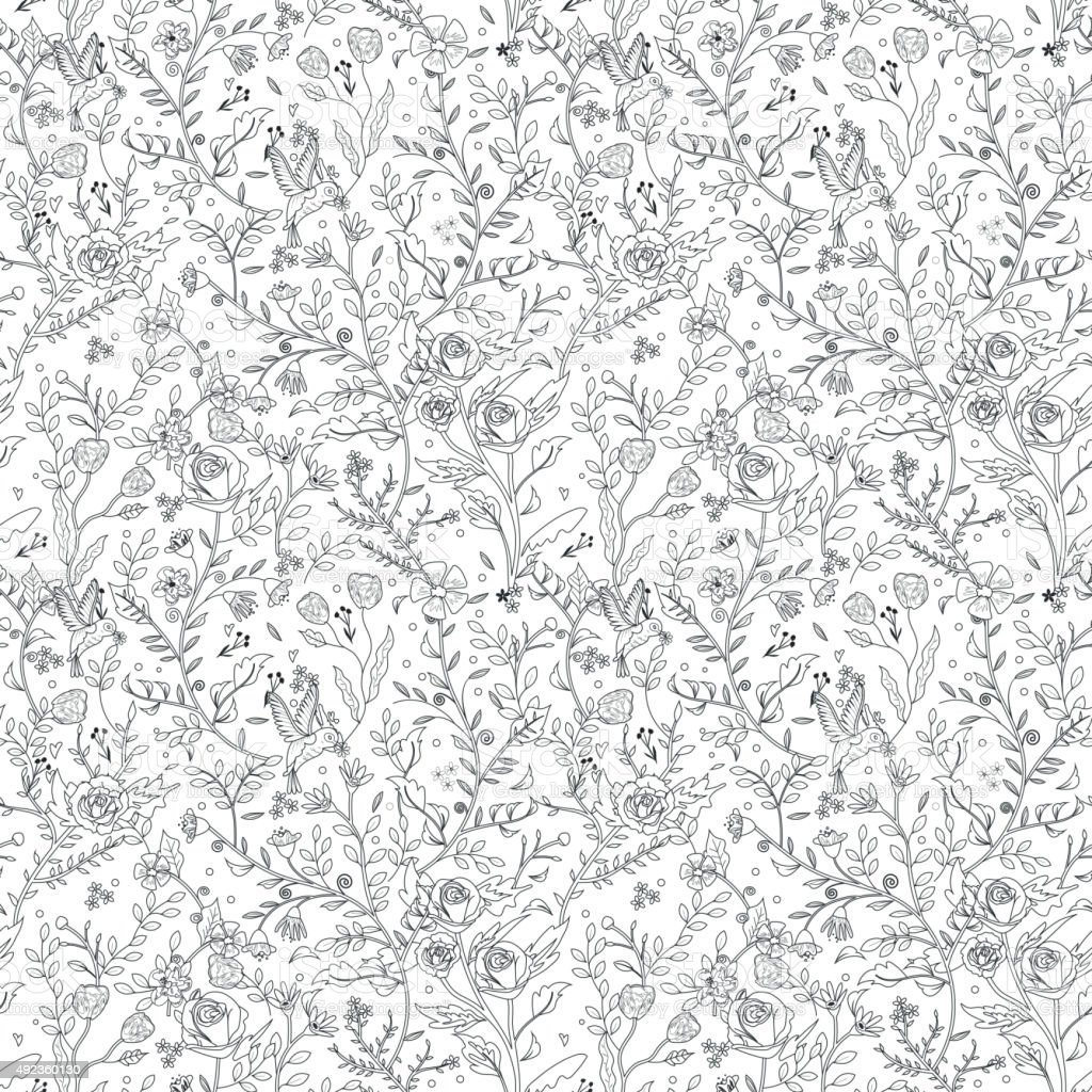 graceful seamless floral pattern coloring page stock vector art