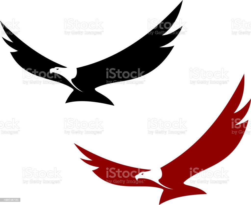 Graceful soaring eagle vector art illustration