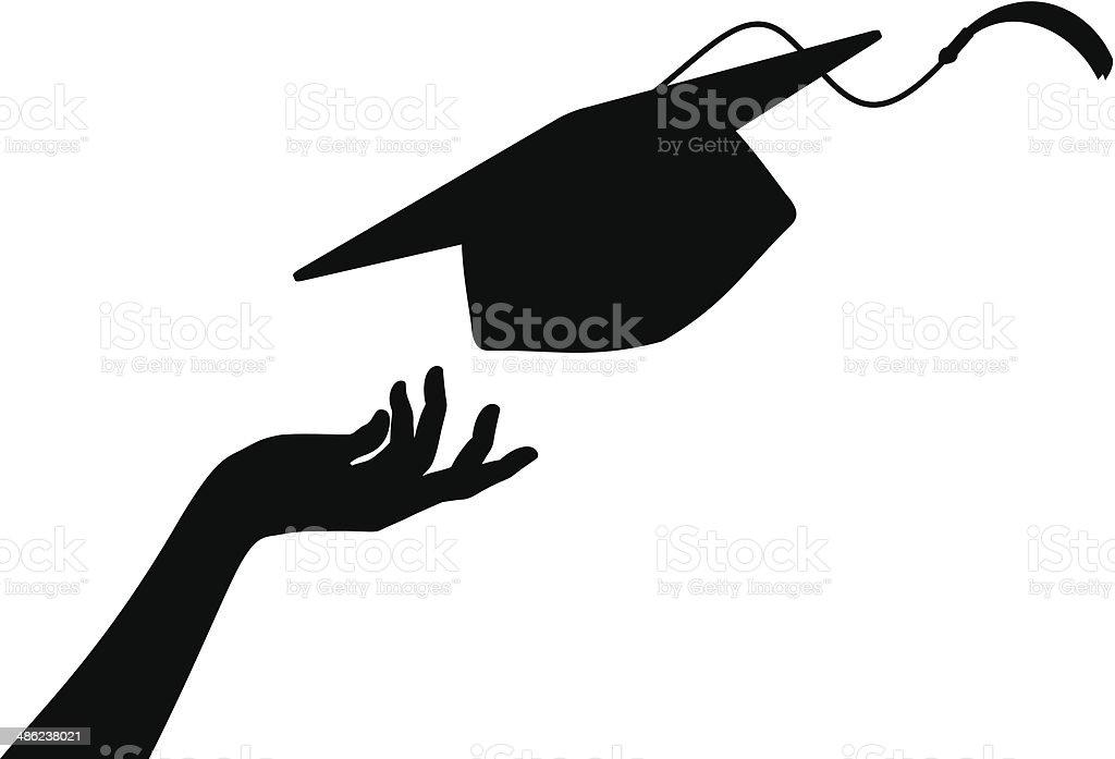 Grad Hat and Hand vector art illustration