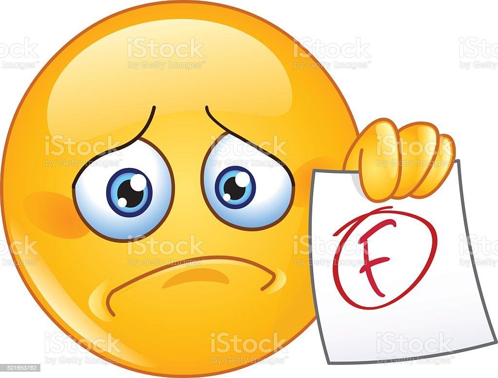 F grade emoticon vector art illustration