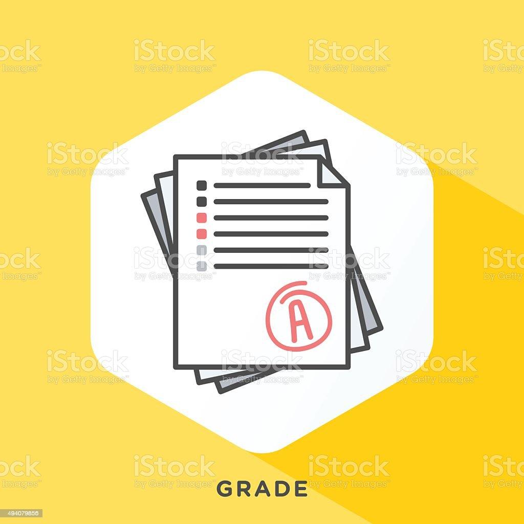 Grade Note Icon vector art illustration