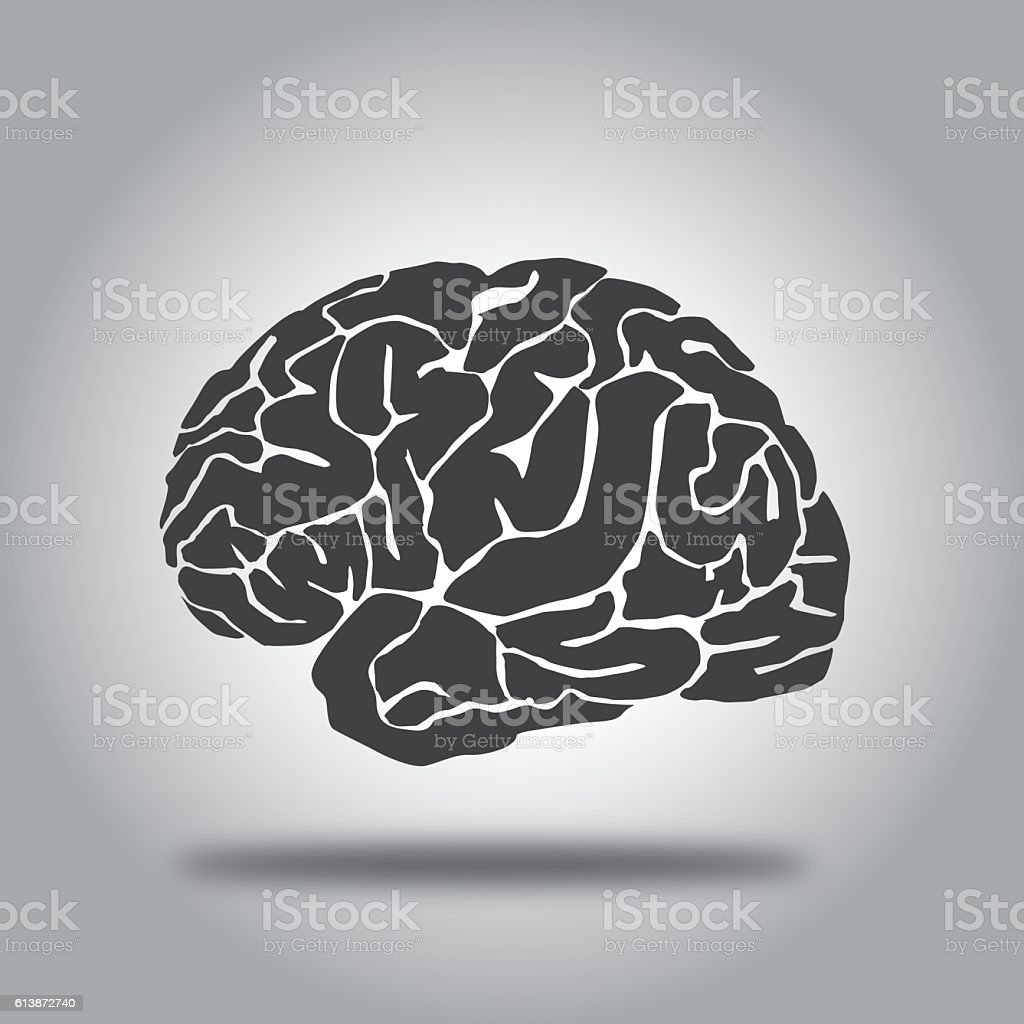 Gradient Gray Brain icon vector art illustration