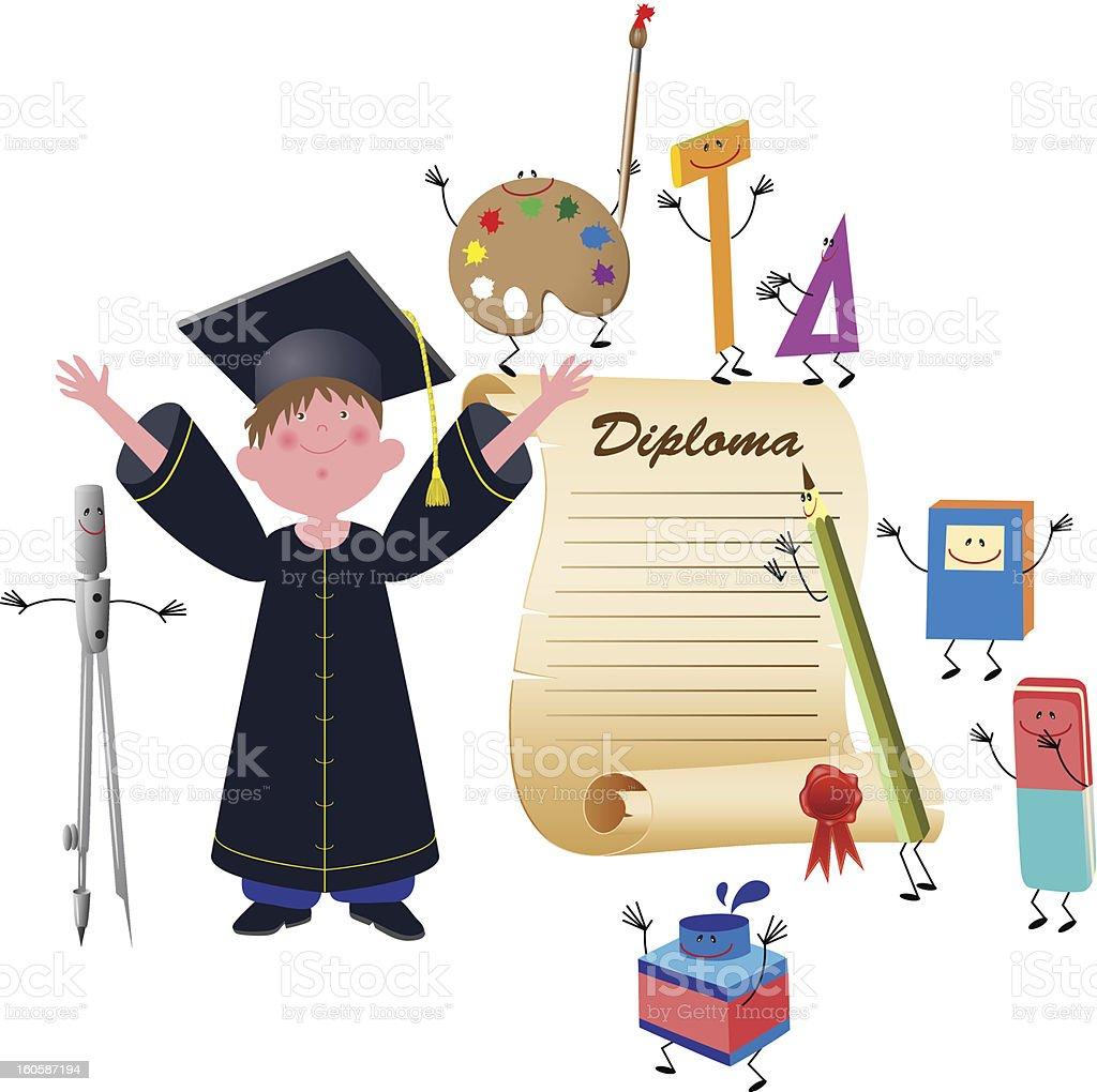 Graduate boy royalty-free stock vector art
