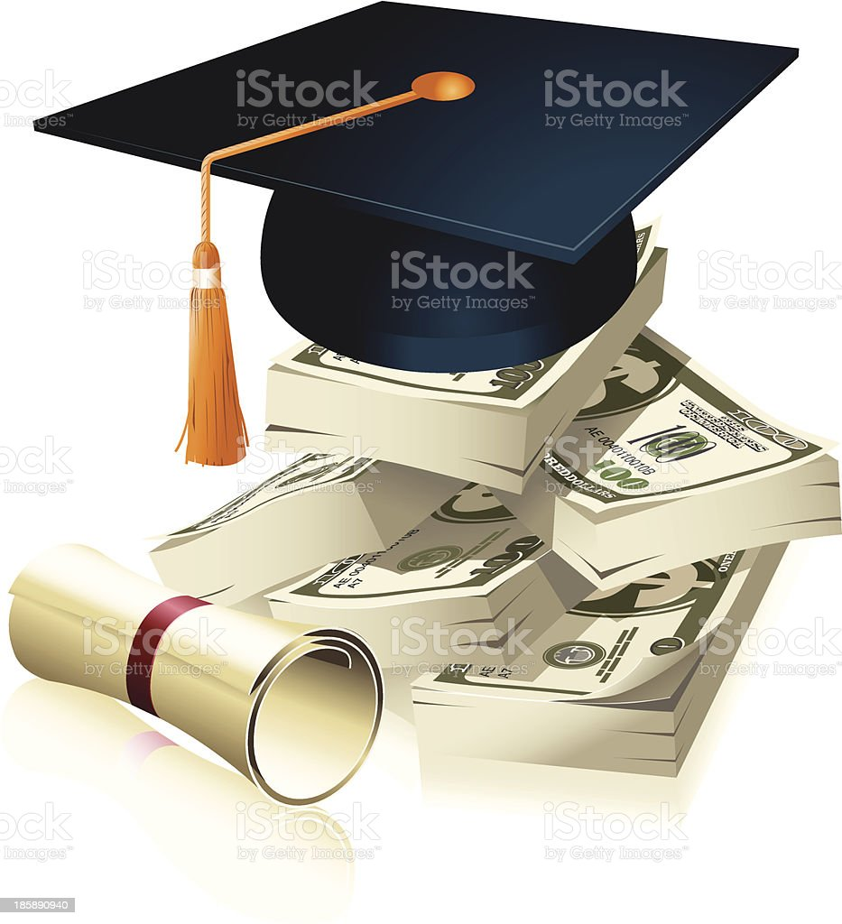 A graduate cap on the stack of dollars vector art illustration