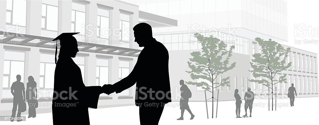 Graduate Handshake Panorama vector art illustration