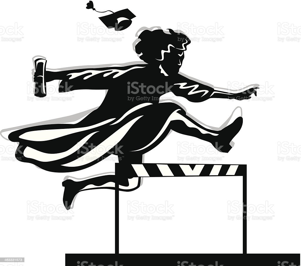Graduate Hurdle vector art illustration