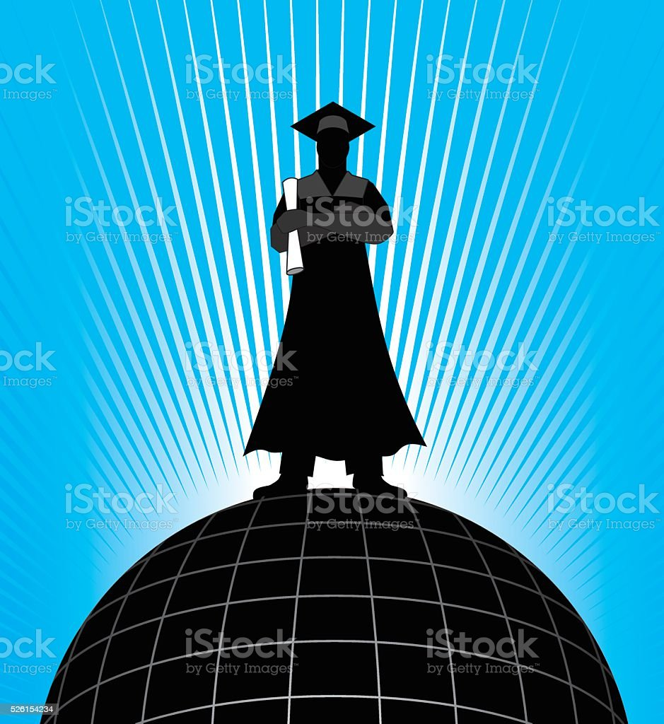 Graduate - On Top of the World vector art illustration