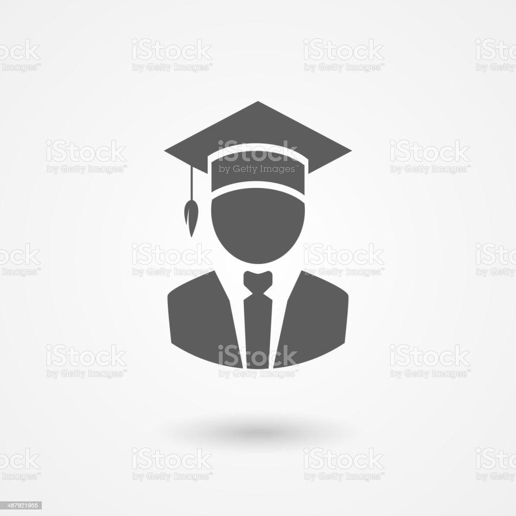Graduate or professor in a mortarboard hat vector art illustration