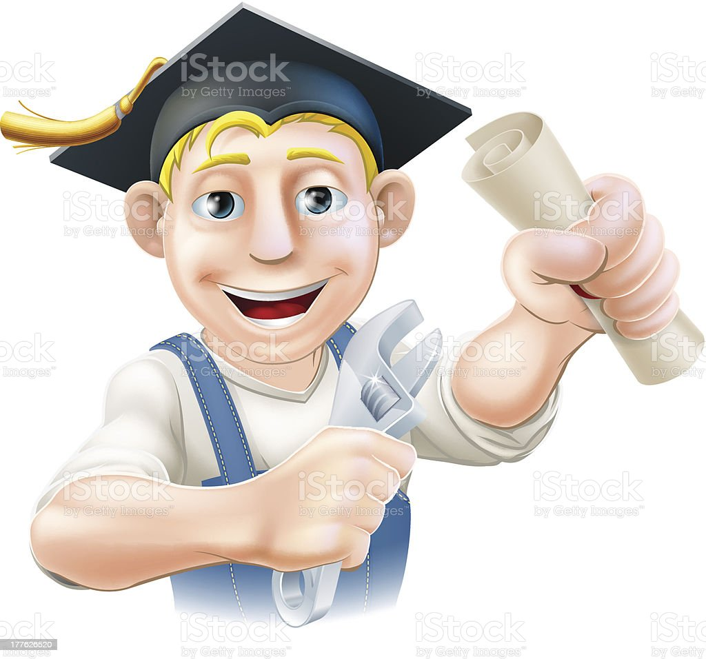 Graduate plumber or mechanic royalty-free stock vector art