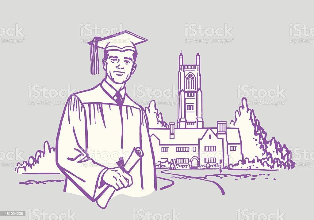 Graduate Standing in Front of Building vector art illustration