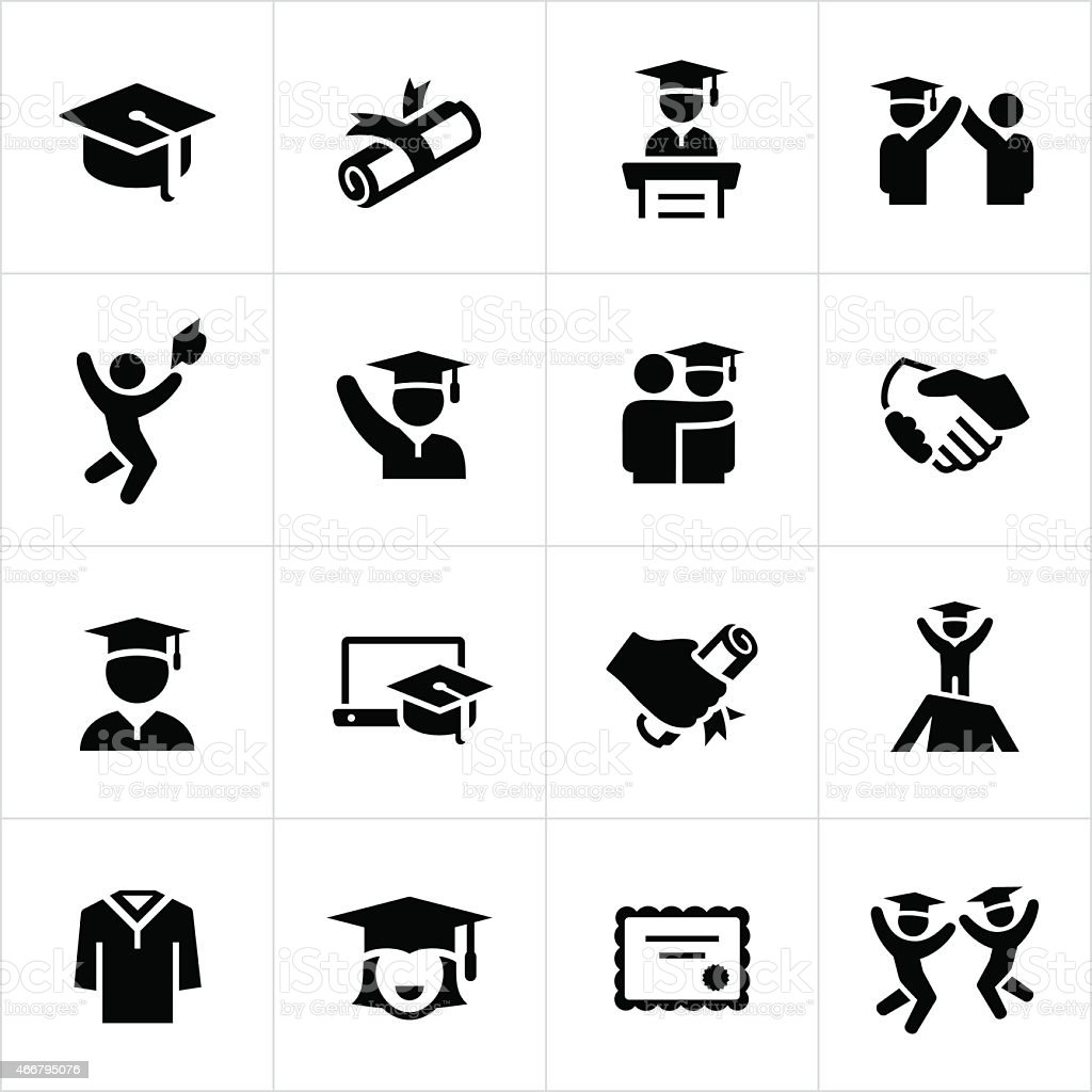 Graduates and Graduation Icons vector art illustration