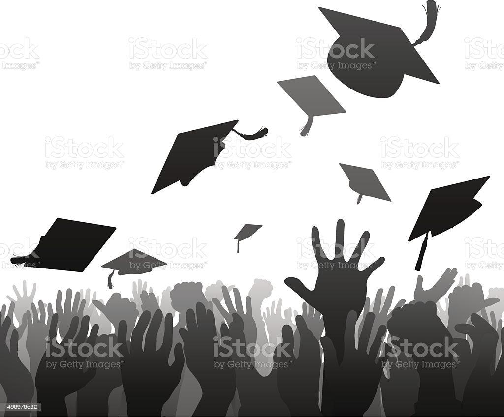 Graduates graduation crowd vector art illustration