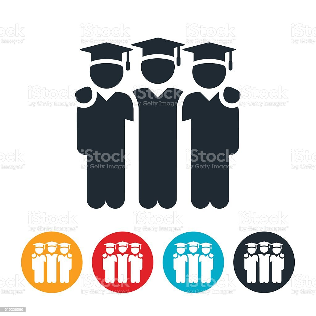 Graduates Icons vector art illustration