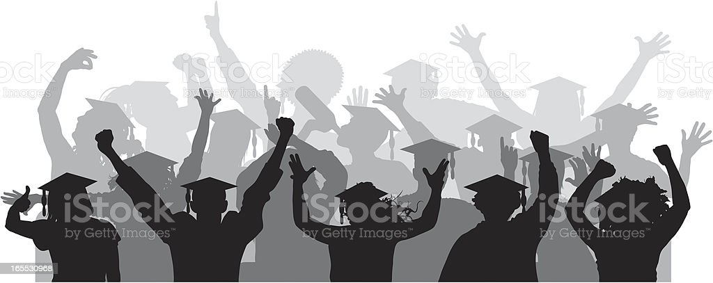 Graduates in the Audience vector art illustration