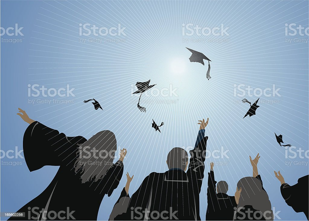Graduates vector art illustration