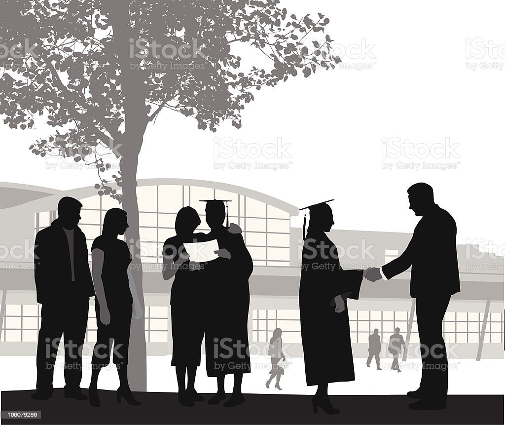 Graduates Vector Silhouette vector art illustration