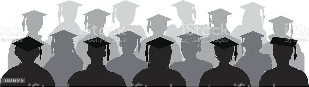 Graduates Watching in the Audience vector art illustration